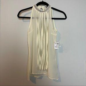 Charlotte Russe Sleeveless Shirt w/ Studs & Fringe